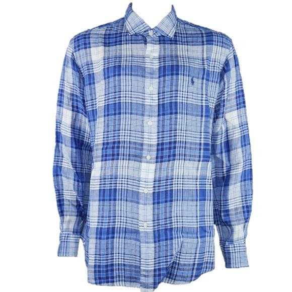 5719b608 Polo Ralph Lauren Linen Plaid Button Down Shirt